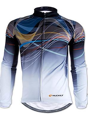 NUCKILY® חולצת ג'רסי לרכיבה לגברים שרוול ארוך אופניים נושם / שמור על חום הגוף / רוכסן קדמי / לביש ג'רזי / צמרות 100% פוליאסטר / גיזות