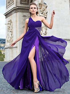 Evento Formal / Baile Militar Vestido - Sexy Funda / Columna Sobre un Hombro Hasta el Suelo / Watteau Raso conCuentas / Recogido Lateral