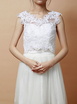 Wraps casamento Coletes Sem Mangas Renda Branco Festa Aberto à Frente