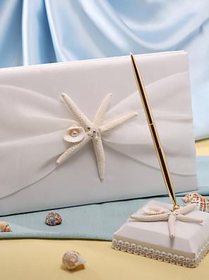 søstjerner& muslingeskal strand tema bryllup gæstebog og pen sæt tegn i bogen