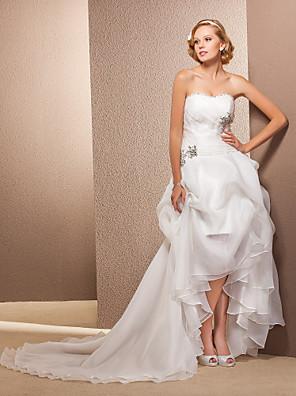 Lanting Bride A-line / Princess Petite / Plus Sizes Wedding Dress-Asymmetrical Sweetheart Organza