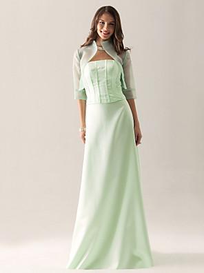 Lanting Bride® Longo Organza / Cetim Vestido de Madrinha - Tubinho Tomara que CaiaMaçã / Ampulheta / Triângulo Invertido / Pêra /