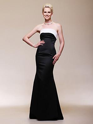ts couture® formelle aftenkjole - åben ryg plus size / kort trompet / havfrue stropløs gulvlang satin med
