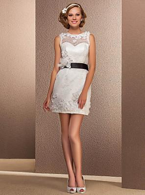 Lanting Bride® מעטפת \ עמוד קטן / מידה גדולה שמלת כלה - שיק ומודרני / לקבלת פנים שמלות לבנות קטנות קצר \ מיני סירה תחרה עם