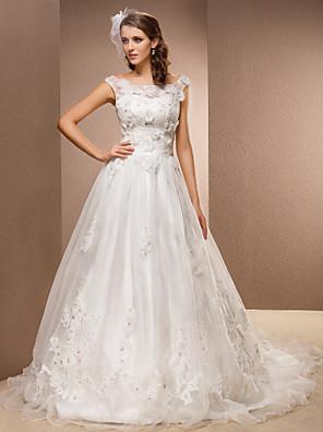 Lanting Bride® גזרת A קטן / מידה גדולה שמלת כלה - קלסי ונצחי בהשפעת וינטאג' שובל כנסייה (צ'אפל) מחשוף עמוק תחרה / אורגנזה עם
