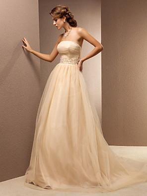 Lanting Bride® גזרת A קטן / מידה גדולה שמלת כלה - קלסי ונצחי שמלות חתונה צבעוניות שובל סוויפ \ בראש סטרפלס טול עם