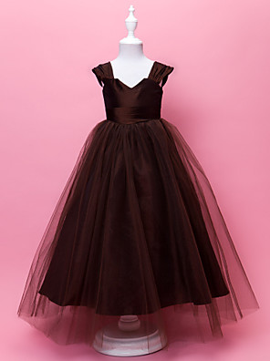 Lanting Bride A-line / Ball Gown Floor-length Flower Girl Dress - Taffeta / Tulle Sleeveless V-neck / Straps with Draping / Side Draping