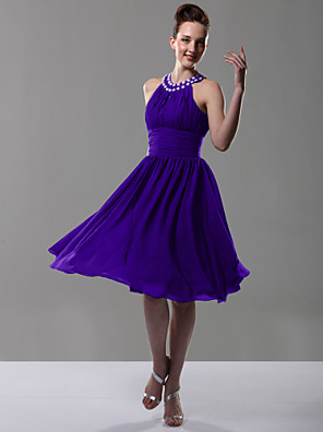 Knee-length Chiffon Bridesmaid Dress A-line / Princess Jewel Plus Size / Petite with Beading / Draping / Pleats / Ruching