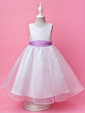 Γραμμή Α / Πριγκίπισσα Μακρύ Φόρεμα για Κοριτσάκι Λουλουδιών - Οργάντζα / Σατέν Αμάνικο Με Κόσμημα μεΚουμπί / Που καλύπτει / Ζώνη /