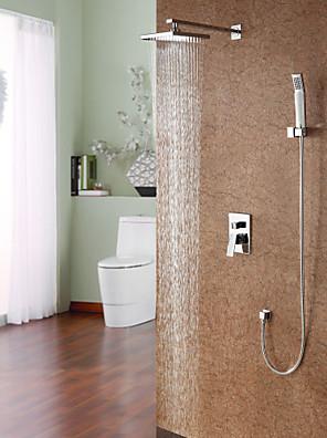 """Kortárs Zuhany rendszer Zuhany """"eső""""szórófej / Kézi zuhanyzót tartalmaz with  Kerámiaszelep Egy fogantyú négy lyukat for  Króm , Zuhany"""