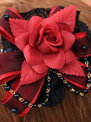 תכשיטים לוליטה גותי לבוש ראש לוליטה אדום / Black לוליטה אביזרים אביזר לשיער פרחוני ל גברים / נשים כותנה