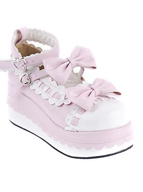 נעליים לוליטה מתוקה נסיכות עקב טריז נעליים סרט פרפר 7 CM לבן / ורוד ל נשים עור פוליאוריתן