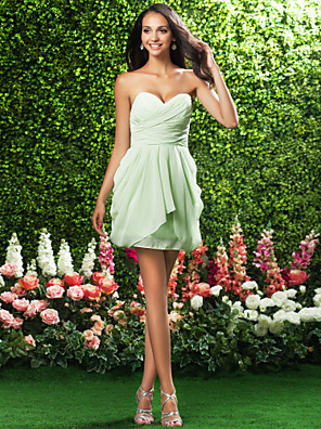 Short / Mini Chiffon Bridesmaid Dress Sheath / Column Strapless / Sweetheart Plus Size / Petite with Draping / Criss Cross
