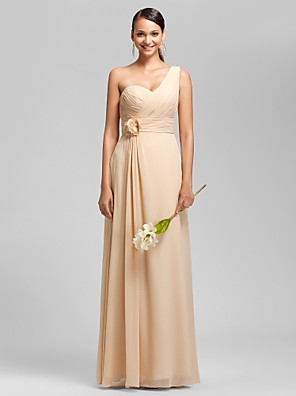 Floor-length Chiffon Bridesmaid Dress Sheath / Column One Shoulder / Sweetheart Plus Size / Petite withDraping / Flower(s) / Criss Cross