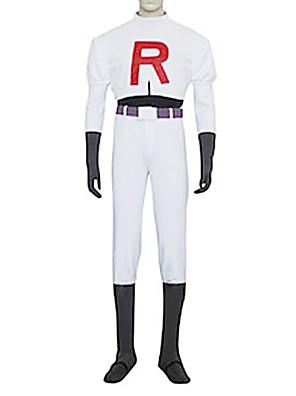 קיבל השראה מ Pocket Monster Team Rocket James וִידֵאוֹ מִשְׂחָק תחפושות קוספליי חליפות קוספליי אחיד לבן שרוולים ארוכיםעליון / מכנסיים /