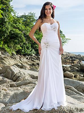 Lanting Bride® Sheath / Column Petite / Plus Sizes Wedding Dress - Classic & Timeless / Glamorous & Dramatic Court Train Sweetheart