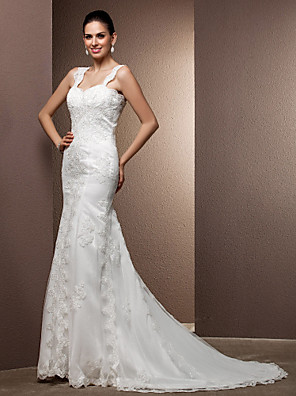 Lanting Bride® בתולת ים \ חצוצרה קטן / מידה גדולה שמלת כלה - קלסי ונצחי / זוהר ודרמטיות בהשפעת וינטאג' שובל קורט מרובע תחרה / טול עם