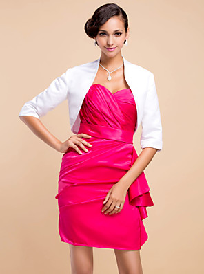 Wedding  Wraps Coats/Jackets 3/4-Length Sleeve Satin White Party/Evening T-shirt Open Front