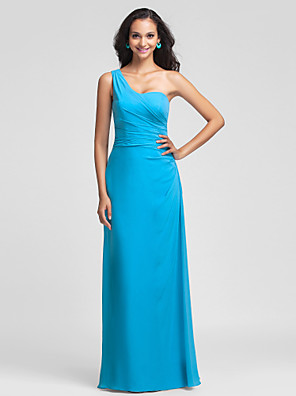 Floor-length Chiffon Bridesmaid Dress Sheath / Column One Shoulder Plus Size / Petite with Side Draping