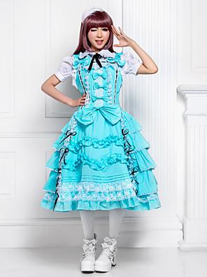 Uma-Peça/Vestidos Doce Lolita Cosplay Vestidos Lolita Azul Céu Cor Única Sem Mangas Lolita Vestido Para Feminino Algodão