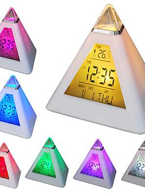 7 geleid kleuren veranderen piramidevormige digitale wekker kalender thermometer (wit, 3 AAA)