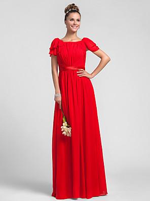Lanting Bride® עד הריצפה שיפון שמלה לשושבינה - מעטפת \ עמוד מרובע פלאס סייז (מידה גדולה) / פטיט עם קפלים / בד נשפך בצד