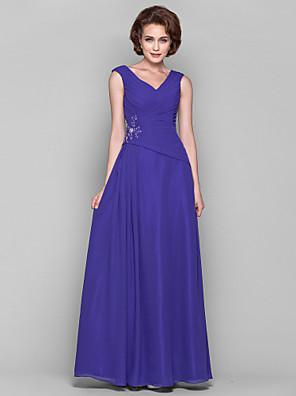 Lanting Bride® A-Linie Větší velikosti / Malé Šaty pro matku nevěsty Na zem Bez rukávů Šifón - Aplikace / Korálky / Nabírání / Křížení
