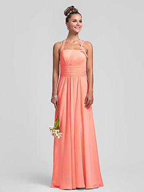 Floor-length Chiffon Bridesmaid Dress - Mini Me Sheath / Column Halter Plus Size / Petite with Draping / Ruffles / Ruching / Pleats