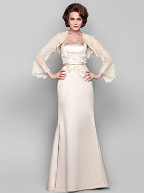 Dress Sheath / Column Strapless Floor-length Tulle / Stretch Satin with Appliques / Beading / Sash / Ribbon