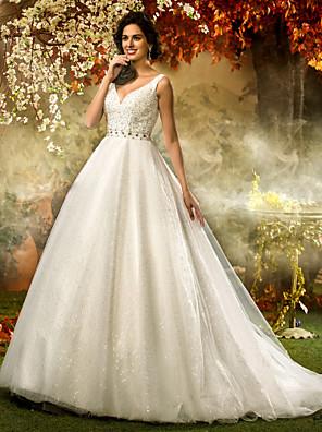 Lanting Bride® Linha A / Princesa Pequeno / Tamanhos Grandes Vestido de Noiva - Clássico e atemporal / Elegante e LuxuosoCintilante e