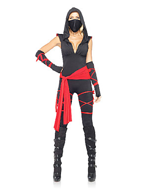 תחפושות קוספליי / תחפושת למסיבה Ninja פסטיבל/חג תחפושות ליל כל הקדושים אדום / שחור טלאים/סרבל תינוקותבגד גוף / כיסוי ראש / חגורה / מסכה /