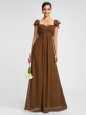 Dress Sheath / Column Sweetheart / Spaghetti Straps Floor-length Chiffon with Ruffles / Criss Cross