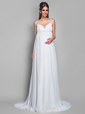 Lanting Bride® Pouzdrové Těhotenské Svatební šaty - Klasické & nadčasové Dlouhá vlečka Špagetová ramínka Šifón s