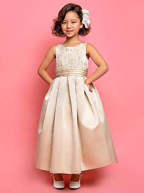 A-line / Princess Ankle-length Flower Girl Dress - Satin Sleeveless Jewel with Appliques / Draping / Ruching
