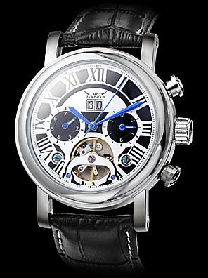 JARAGAR Men's Auto-Mechanical Watch Black Roman Number Leather Band Wrist Watch Cool Watch Unique Watch