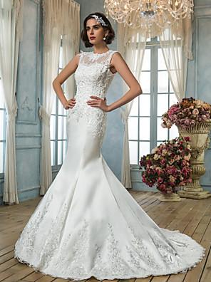 Lanting Bride® בתולת ים \ חצוצרה קטן / מידה גדולה שמלת כלה - קלסי ונצחי / אלגנטי ויוקרתי בהשפעת וינטאג' שובל קורט עם תכשיטים סאטן עם