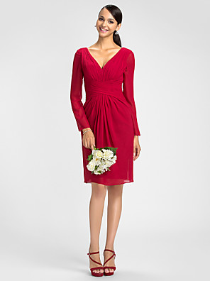 Lanting Bride® באורך  הברך שיפון שמלה לשושבינה - מעטפת \ עמוד צווארון וי פלאס סייז (מידה גדולה) / פטיט עם סרט / בד בהצלבה
