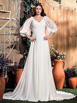 Lanting Bride® A-Linie Jablko / Přesýpací hodiny / Obrácený trojúhelník / Hruška / Obdélník / Nadměrné velikosti / Drobná / Mladistvá