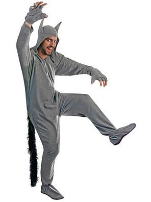 Kigurumi Pyžama Vlk Leotard/Kostýmový overal Festival/Svátek Animal Sleepwear Halloween Šedá Jednobarevné Polyester Kigurumi Pro Unisex