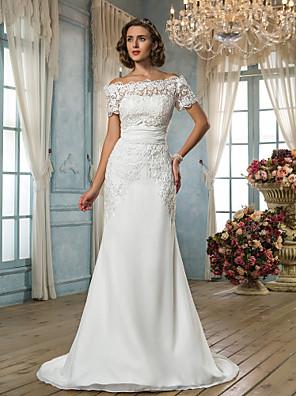 Lanting Bride® בתולת ים \ חצוצרה קטן / מידה גדולה שמלת כלה - קלסי ונצחי / זוהר ודרמטיות בהשפעת וינטאג' שובל סוויפ \ בראש מתחת לכתפיים