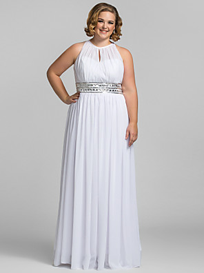 TS Couture® Prom / Formal Evening / Military Ball Dress - Elegant Plus Size / Petite Sheath / Column High Neck Floor-length Chiffon with Crystal