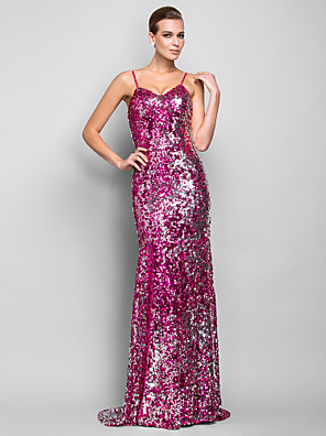 ts couture® vestido de bola más tamaño / trompeta petite / espaguetis sirena / militares correas palabra de longitud noche formales con lentejuelas