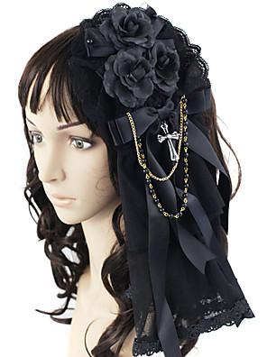 תכשיטים לוליטה גותי לבוש ראש נסיכות Black לוליטה אביזרים אביזר לשיער סרט פרפר ל גברים / נשים סאטן / תחרה / סגסוגת / אבני חן מלאכותיים