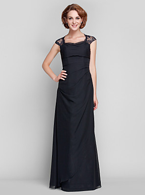 Sheath / Column Plus Size / Petite Mother of the Bride Dress Floor-length Sleeveless Chiffon / Lace with Lace / Side Draping