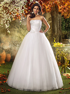Lanting Bride® A-line / Princess Petite / Plus Sizes Wedding Dress - Chic & Modern / Glamorous & Dramatic Floor-length Strapless Tulle