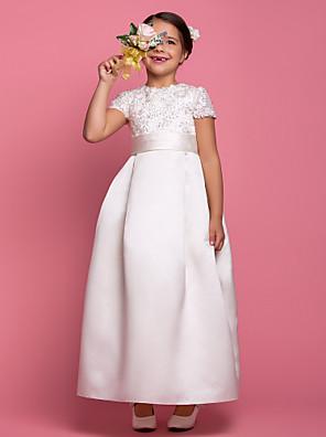 כלה לנטינג גזרת A באורך הקרסול שמלה לנערת הפרחים - סאטן שרוול קצר עם תכשיטים עם חרוזים / תד נשפך / תחרה / סרט