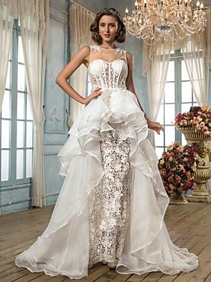lanting는 몸집이 작은 A 라인 / 공주 신부 / 플러스 웨딩 드레스 - 비대칭 보석 레이스 / 오간자 / 얇은 명주 그물 크기
