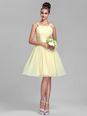 Lanting Bride® Até os Joelhos Chiffon / Cetim Elástico Vestido de Madrinha - Linha A Alças Tamanhos Grandes / Mignon comPregueado /