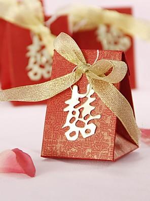 Aziatische stijl ten gunste doos met dubbel geluk en gouden boog (set van 12)