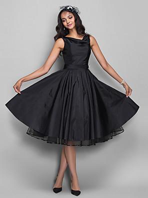 칵테일 파티 / 홈 커밍 / 회사 파티 드레스 - 빈티지 스타일 / 1950년대 A-라인 카울 넥 무릎 길이 태피터 와 루시 주름 장식